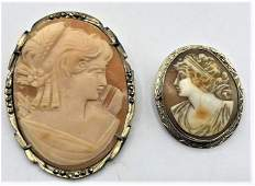 [2] Victorian Cameo Brooches, 14 K Mount, .800 Mount