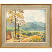 Vosdik, Oil/b Autumn Landscape Painting, Original Frame