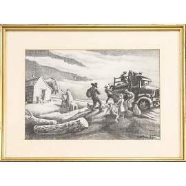 Thomas Hart Benton; American Charcoal Drawing Signed
