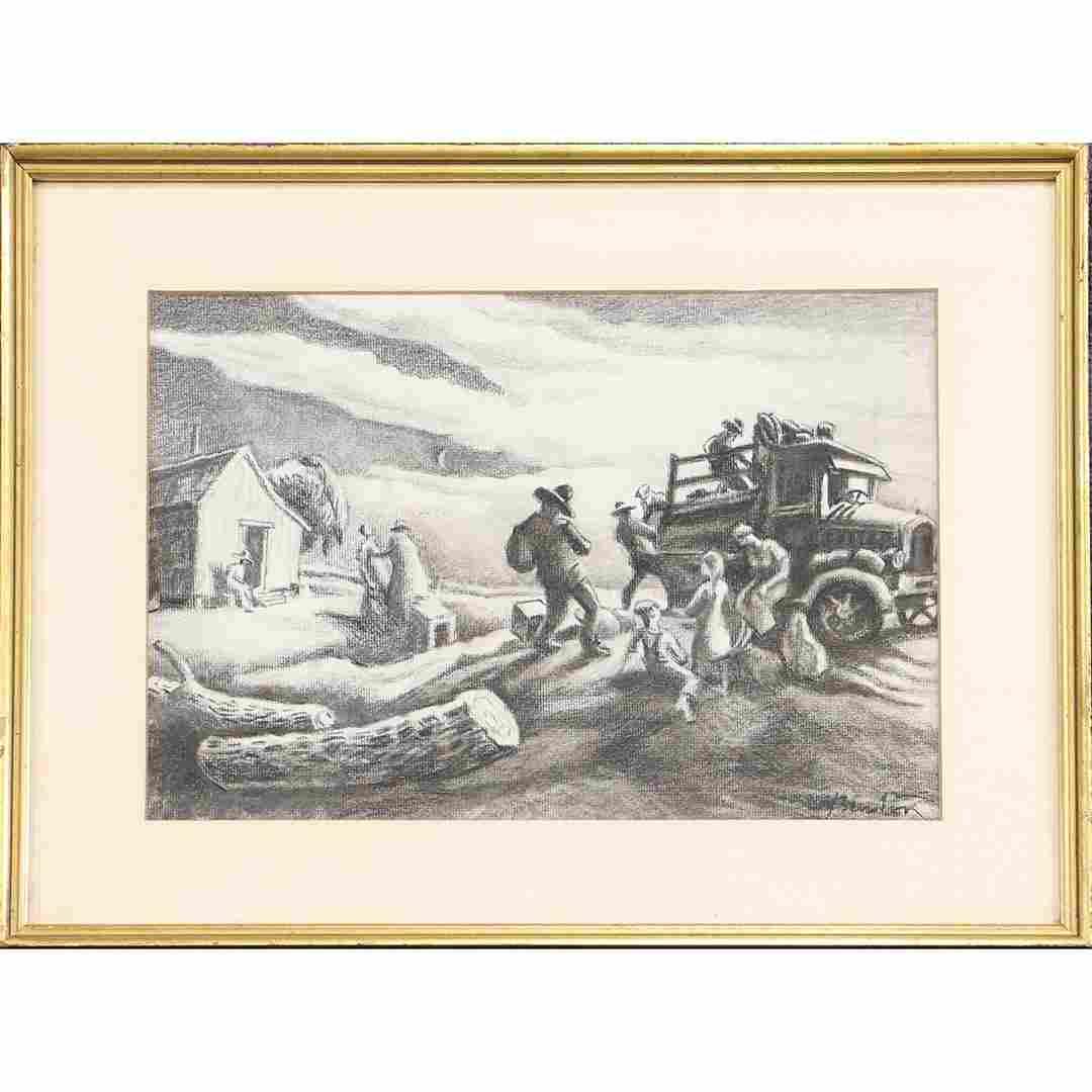 Thomas Hart Benton; American Charcoal Drawing Signed