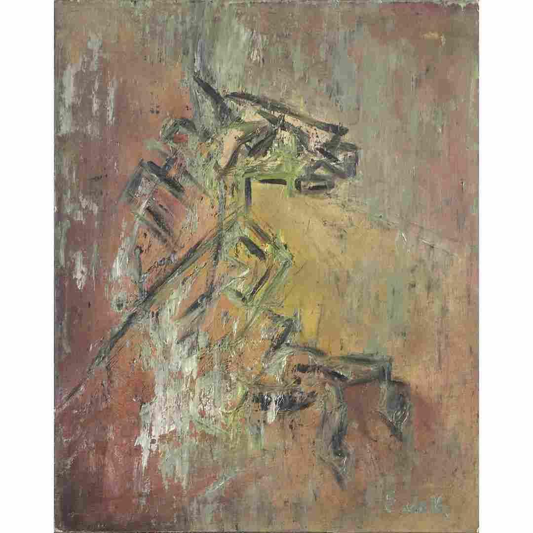 Elaine DeKooning 1918-1989, Oil/b Abstract Horse Head