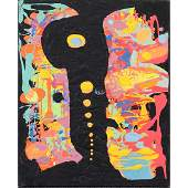 MidCentury Atomic Amoeba Oilc Pastel Colors Abstract