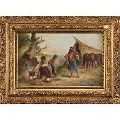Karel Novak, Oil/c Family Camp Scene Playing Violin