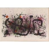 Joan Miro, 1893-1983 Color Lithograph, Signed in Plate