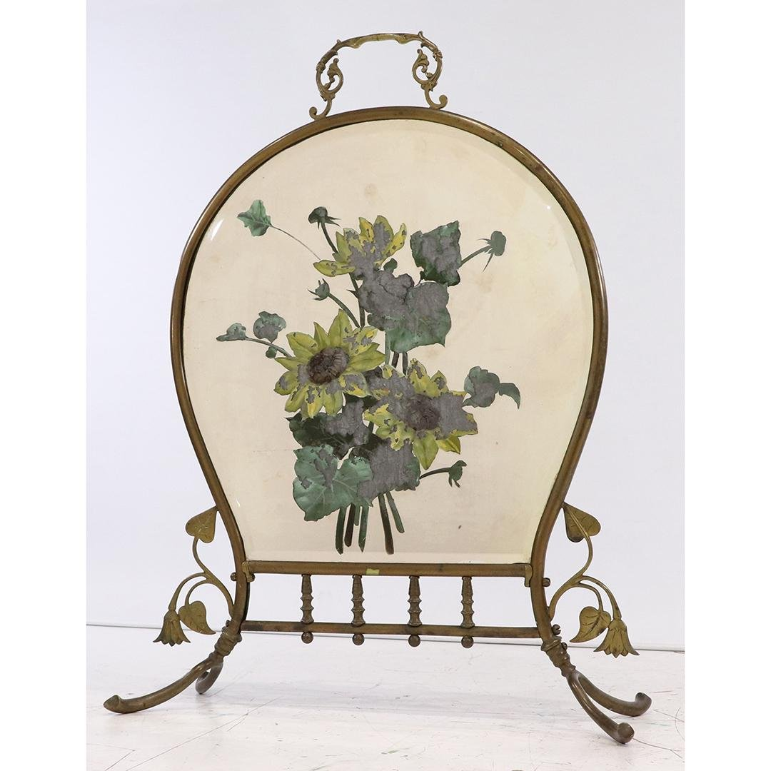 19th C Brass French Victorian Fire Screen with Floral