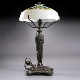 LOUIS C TIFFANY FURNACES INC Damascene Shade Table Lamp