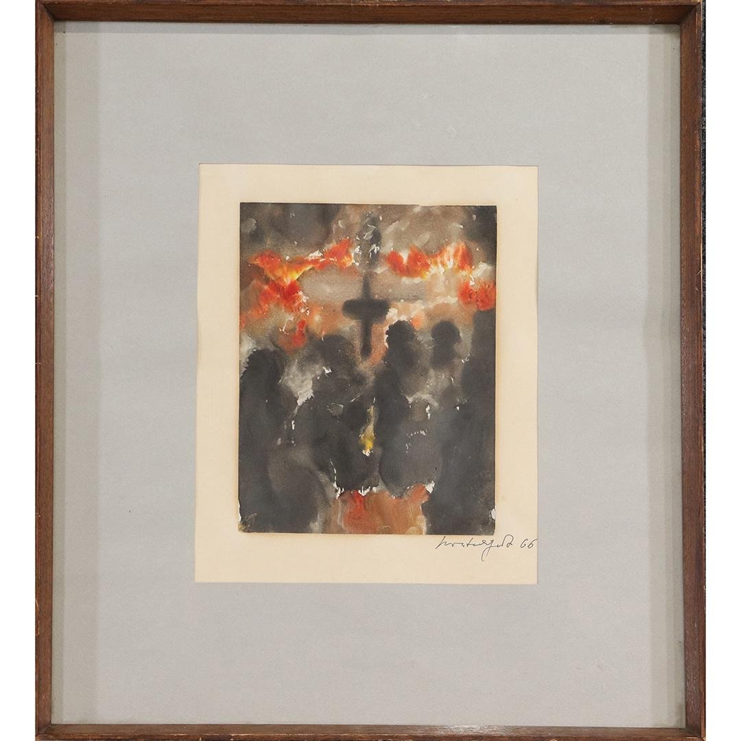 1966 Macabre Abstract Black Figures, Black Cross W/c
