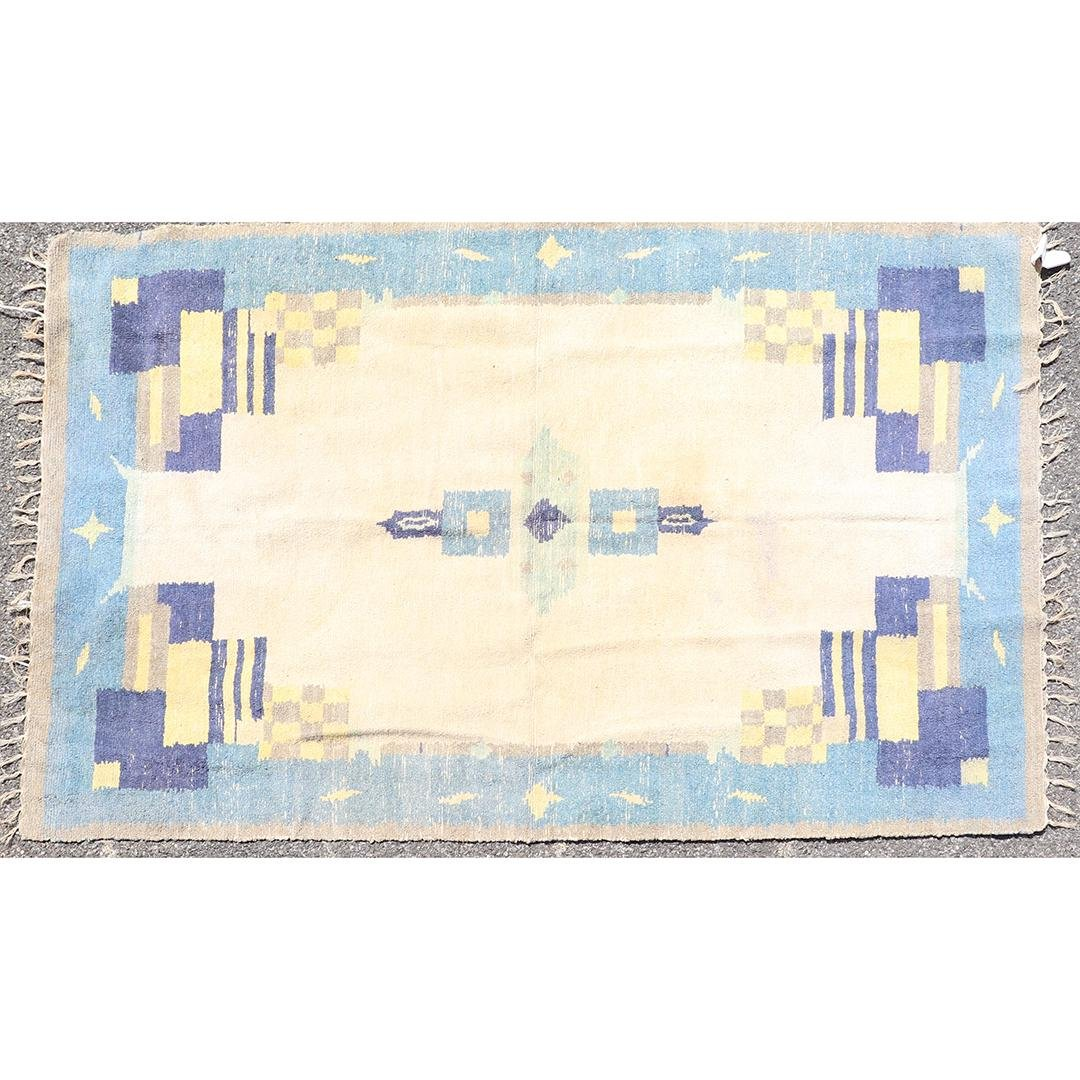 Flat Woven Hand Hooked Wool Rug Blue and Tan