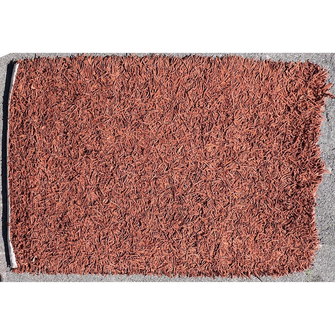 Leather Strips Shag Area Size Rug Light Brown