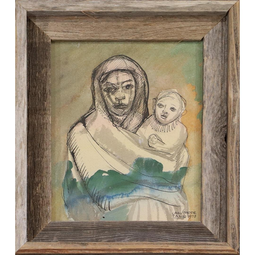 Carl Pappe Taxco 1973, Watercolor Mother & Child Signed