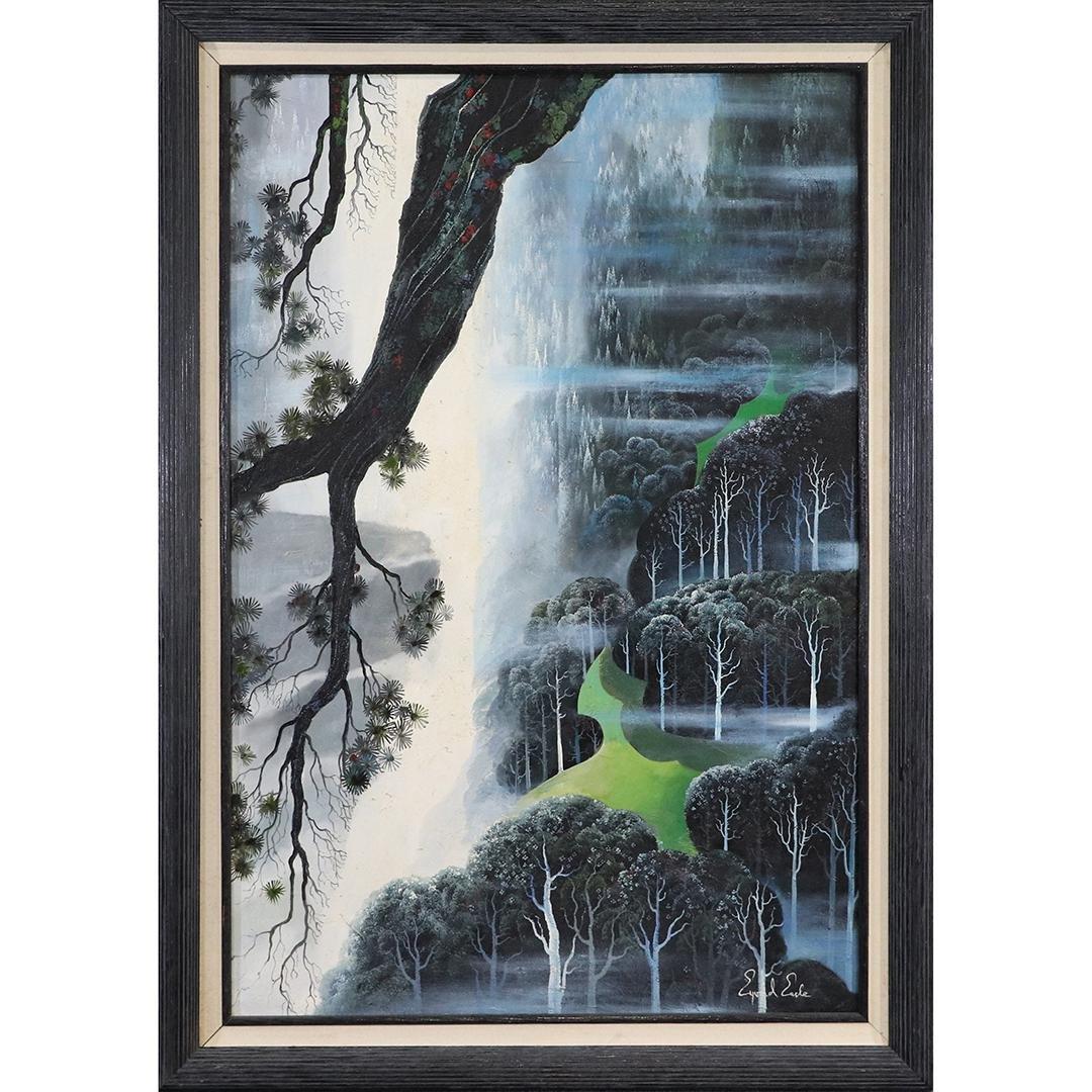 Eyvind Earle, Oil Painting Fantasy Rain Forest , Tree