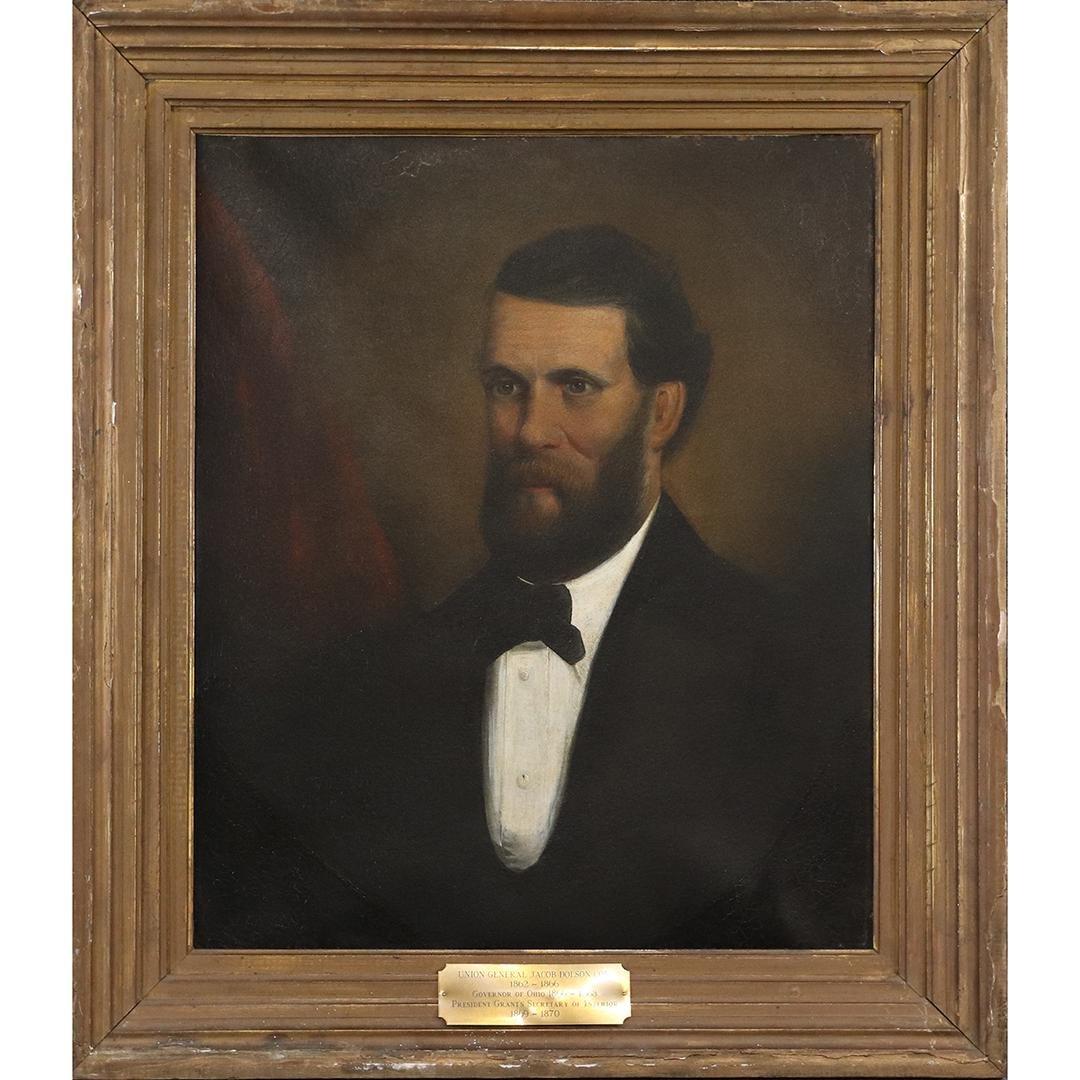 19th C. Oil/c Portrait Union General Jacob Dolson Cox