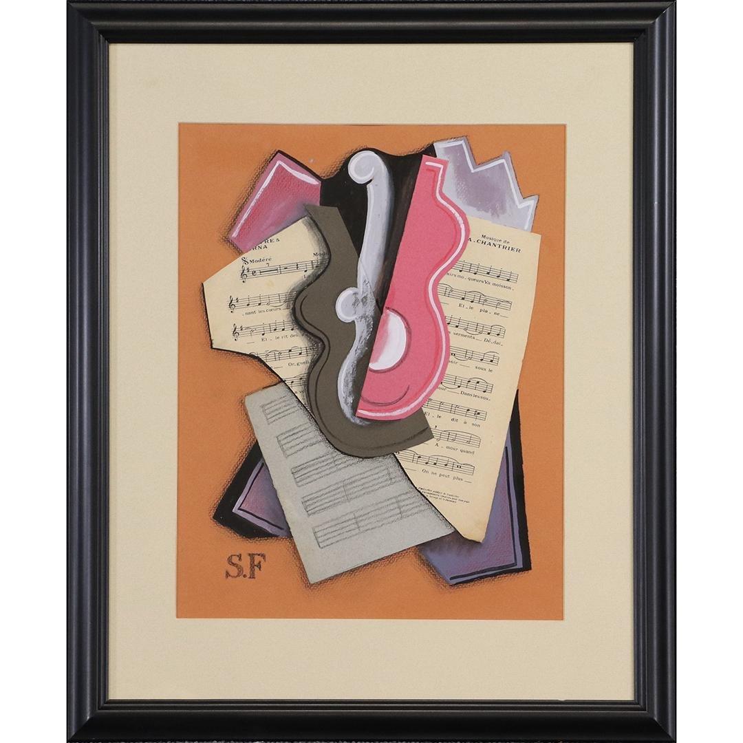 Suzy Frelinghuysen , Cubism Music Theme Gouache Collage