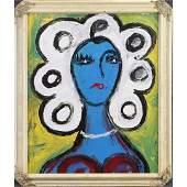 Pulgini, Mid-Century Modern Abstract Blue Lady Portrait