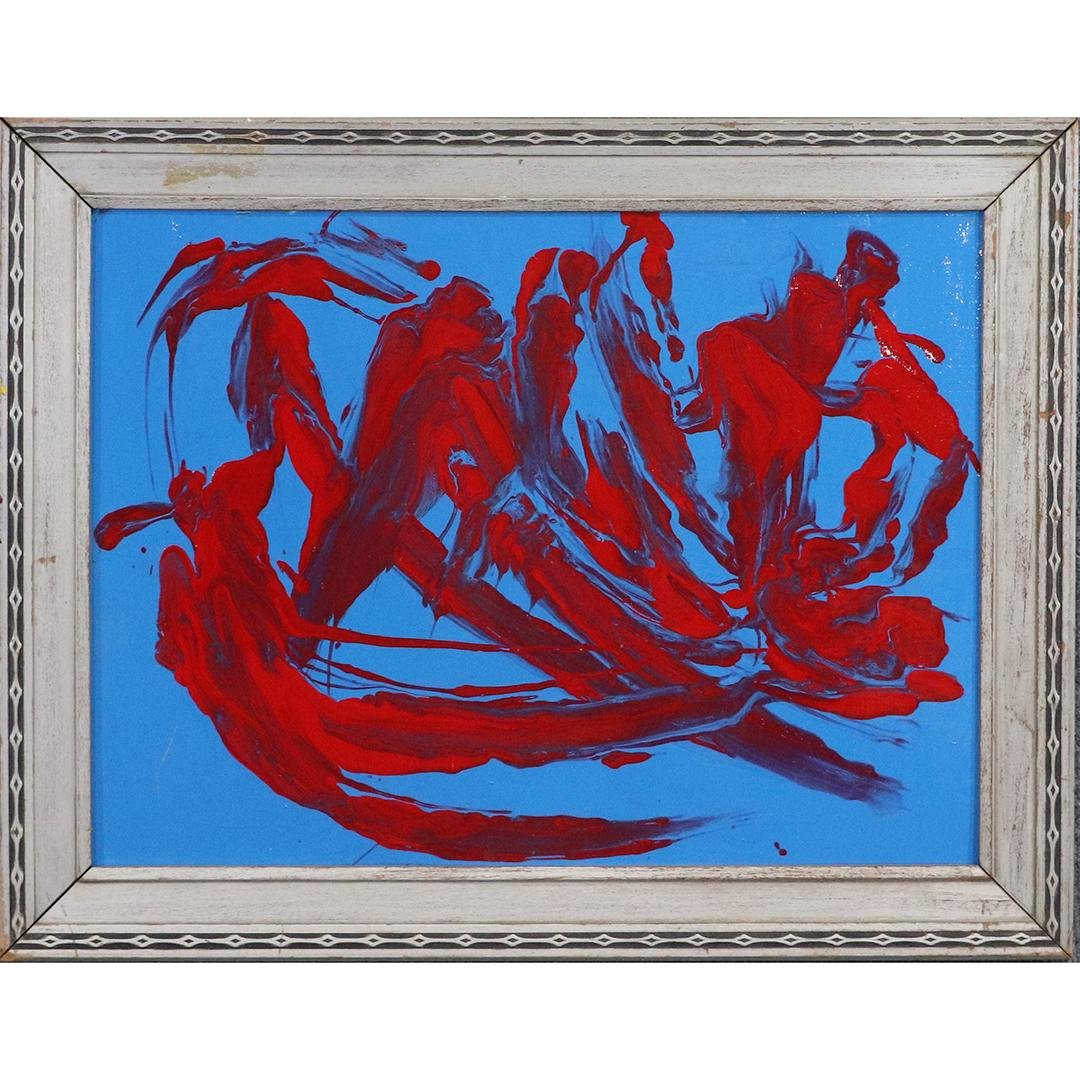 Pulgini, Mid-Century Modern Abstract Red on Blue O/b