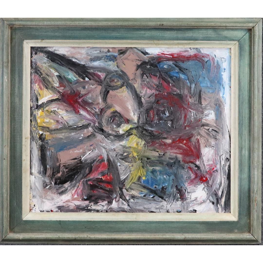 Pulgini, Mid-Century Modern Abstract Composition Oil/c