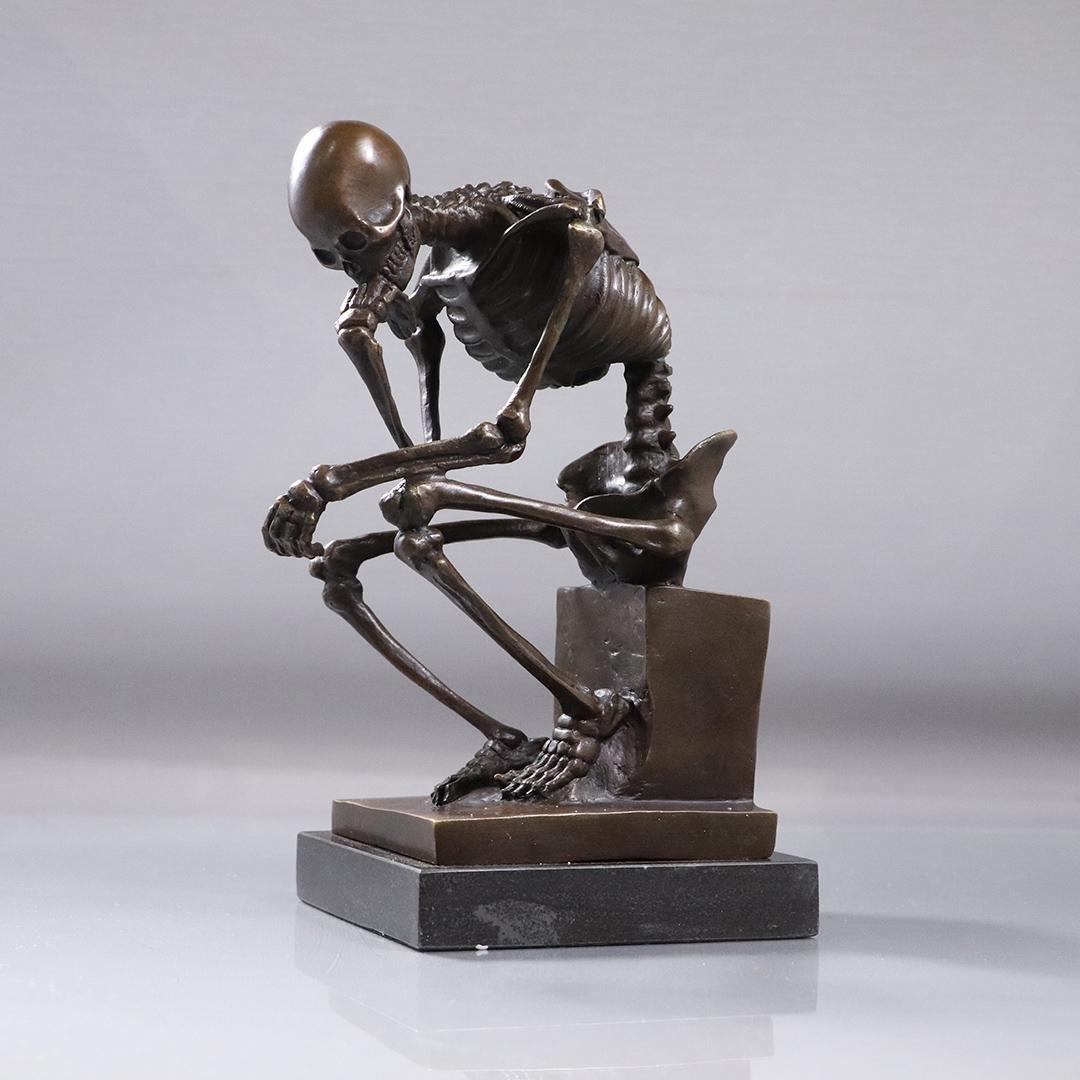 "Milo, Bronze Skeleton Sculpture ""The Thinker"" , Signed"