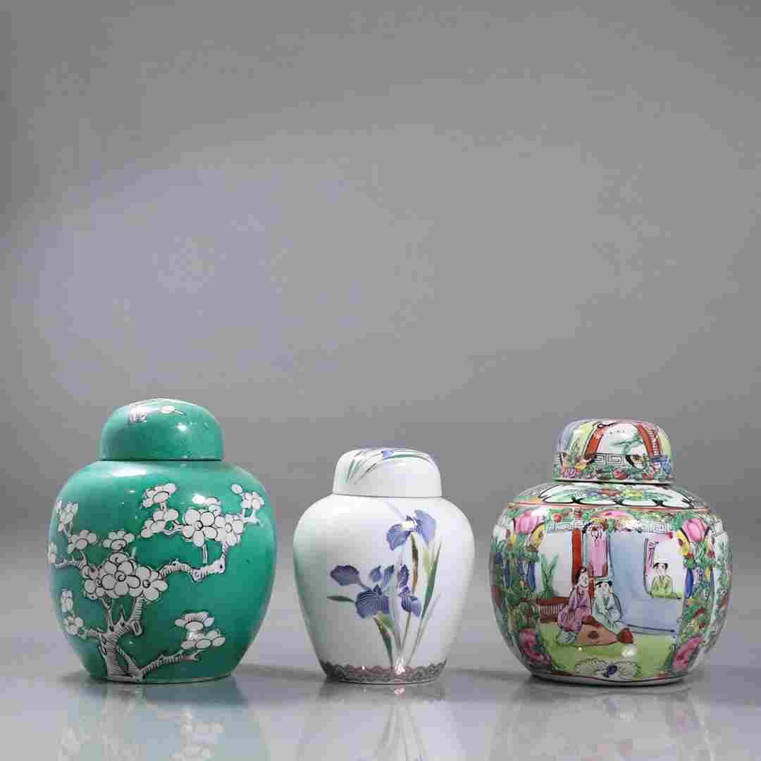 [3] Three Assorted Japanese Porcelain Ginger Jars