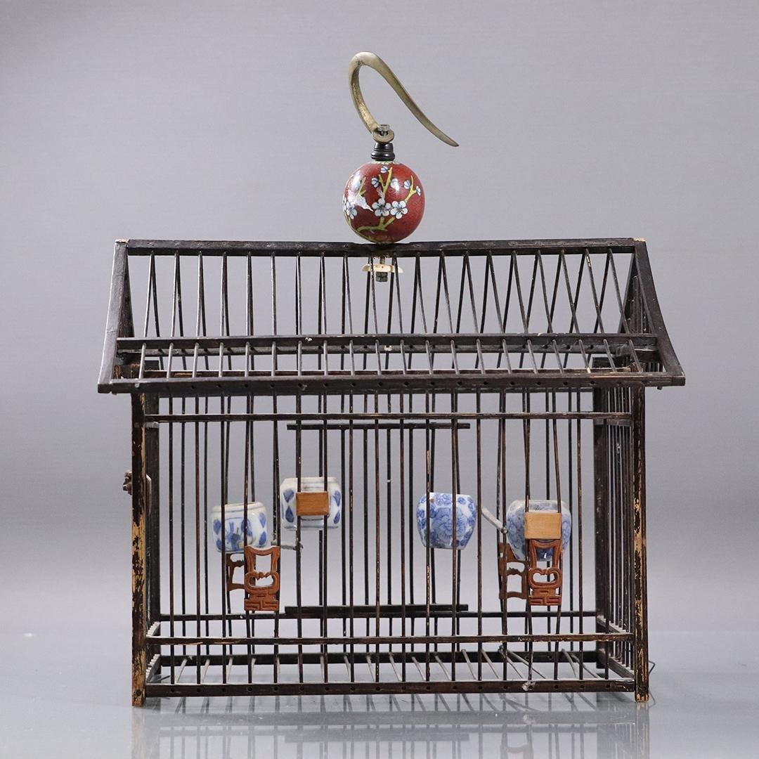 Unique Chinese Oriental Wire Birdcage Cloisonne Hanger
