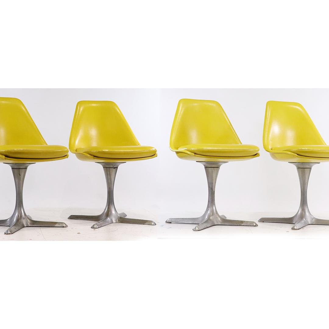 [4] Four Burke Mid-Century Yellow Dining Chairs X Bases