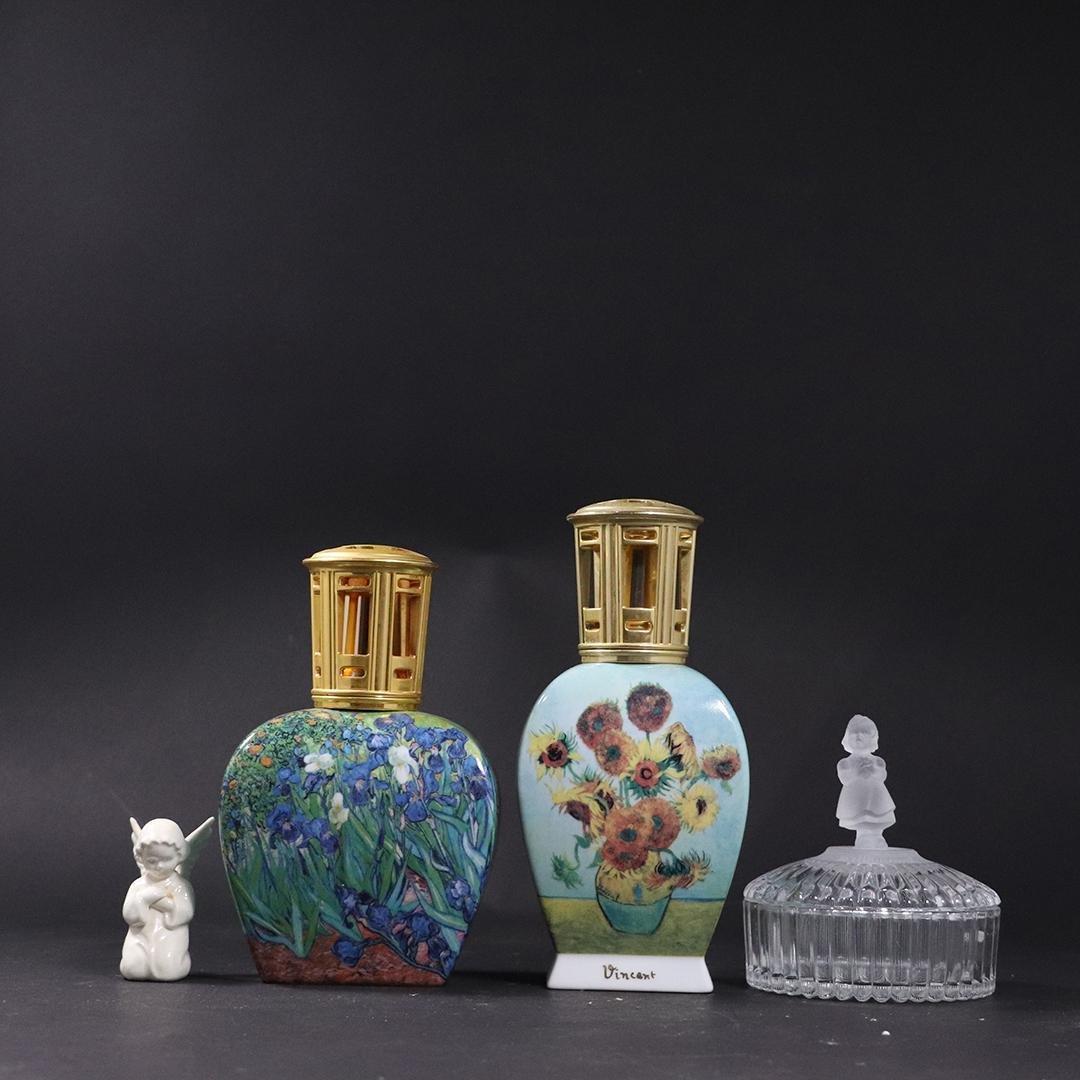 4 Assorted Goebel, 2 Porcelain Oil Lamps, Pin Dish, Fig