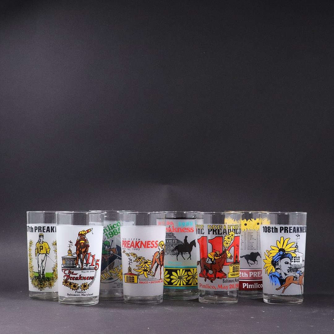 8 Equestrian  Preakness Drinking Glasses - Vintage