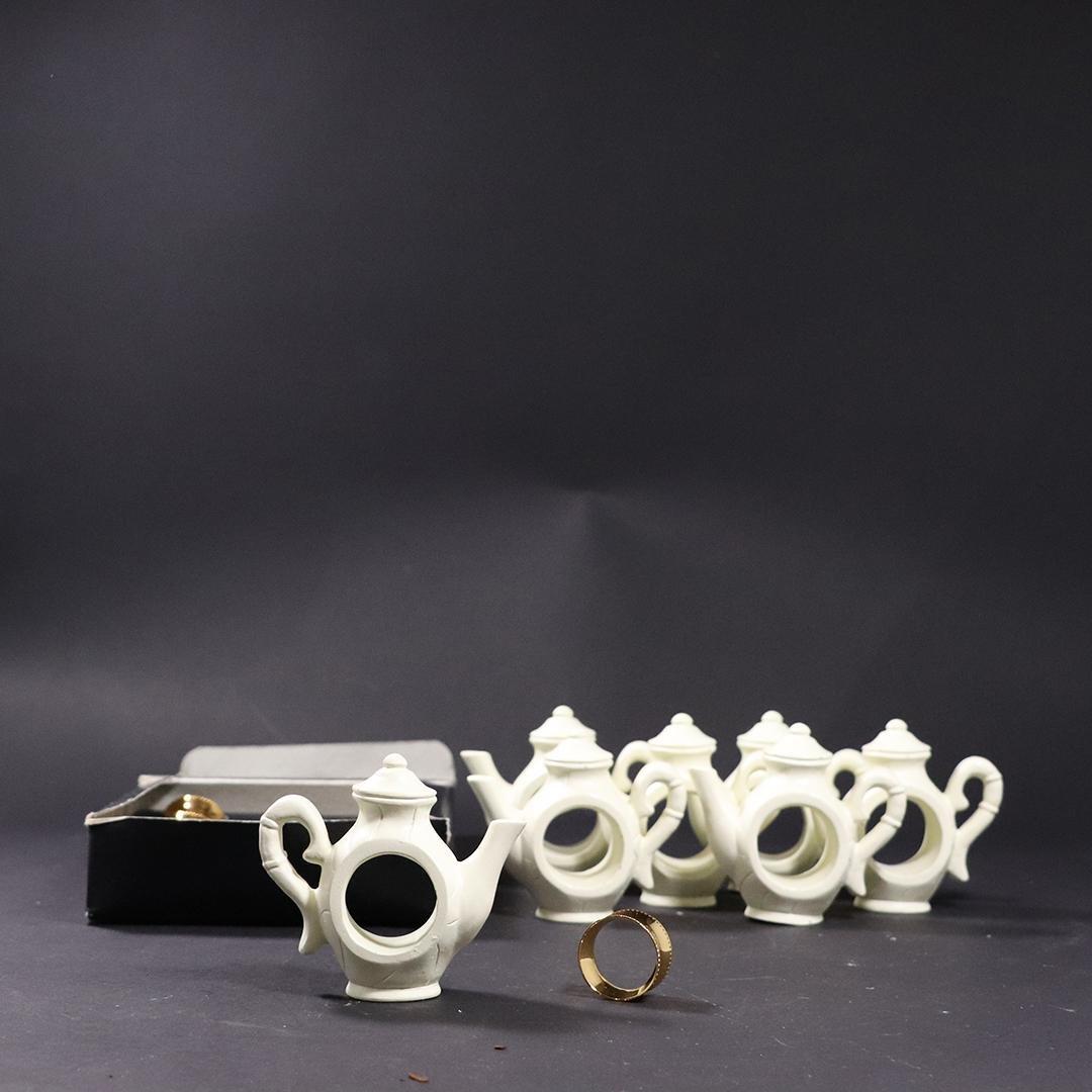 2 Sets of Napkin Rings, Gold Tone Rings. Novelty Teapot
