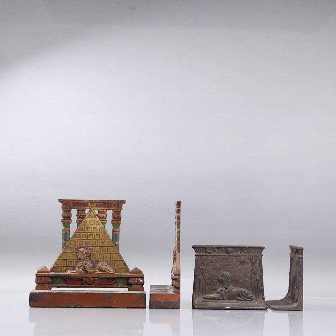 Two 1920s Cast Iron Egyptian Revival Bookends