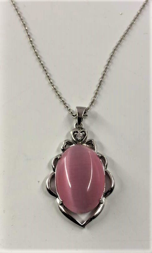 .925 Sterling Silver Necklace with Pink Opaline Pendant