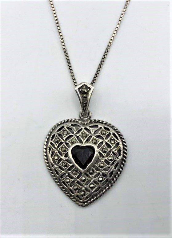 .925 Sterling Silver Necklace Heart Pendant Garnet Ctr.