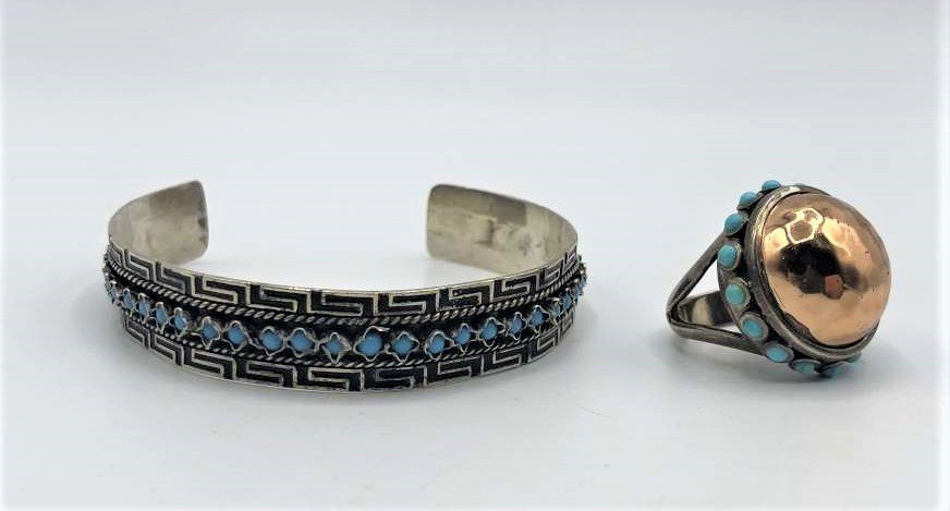 2 Pcs. Sterling Silver & Turquoise Ring and Bracelet
