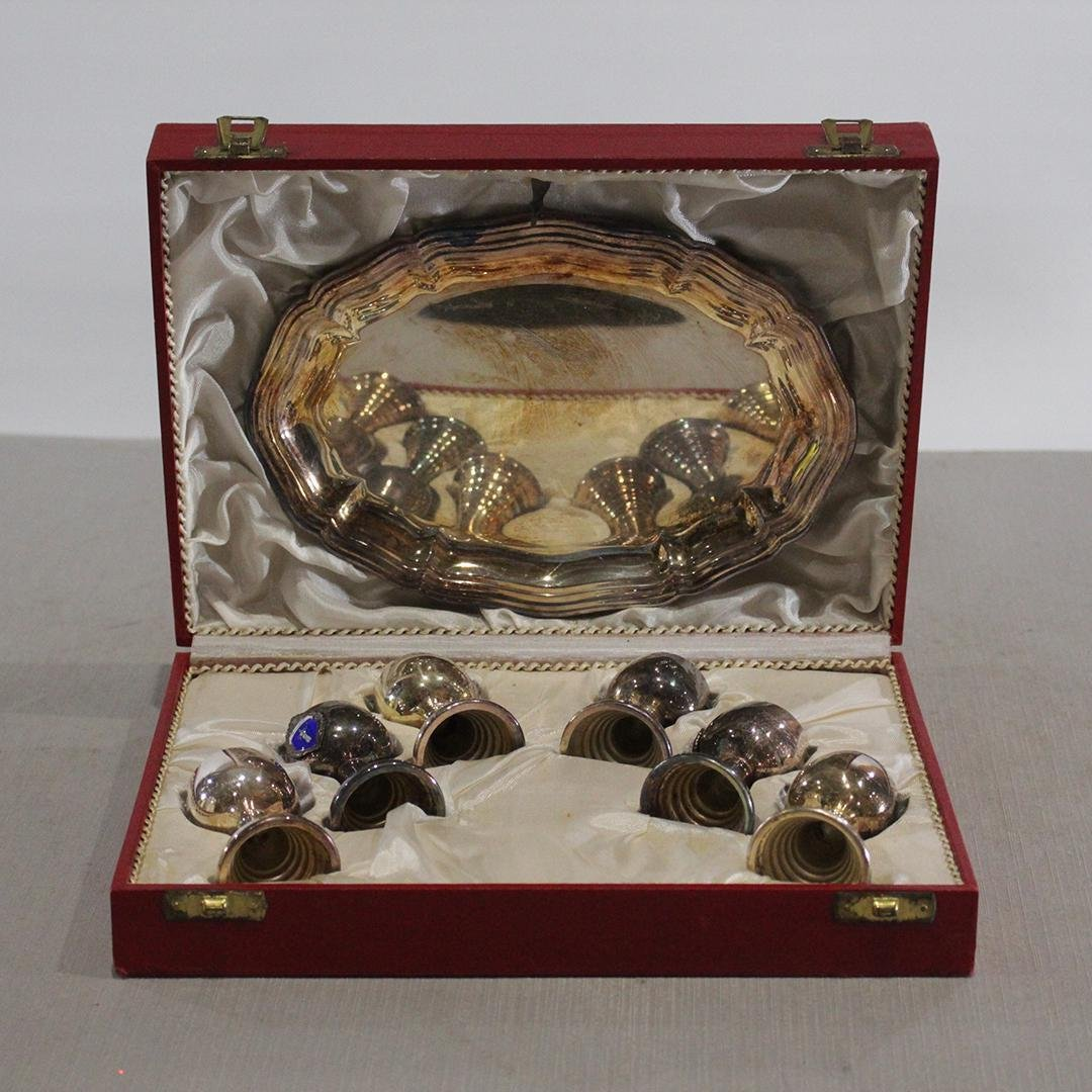 W Germany Silver Plate Chalice and Tray Set in Box