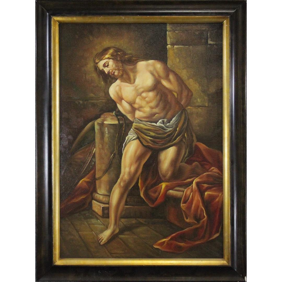 20th C. Oil Painting of Old World Captive Man Prisoner