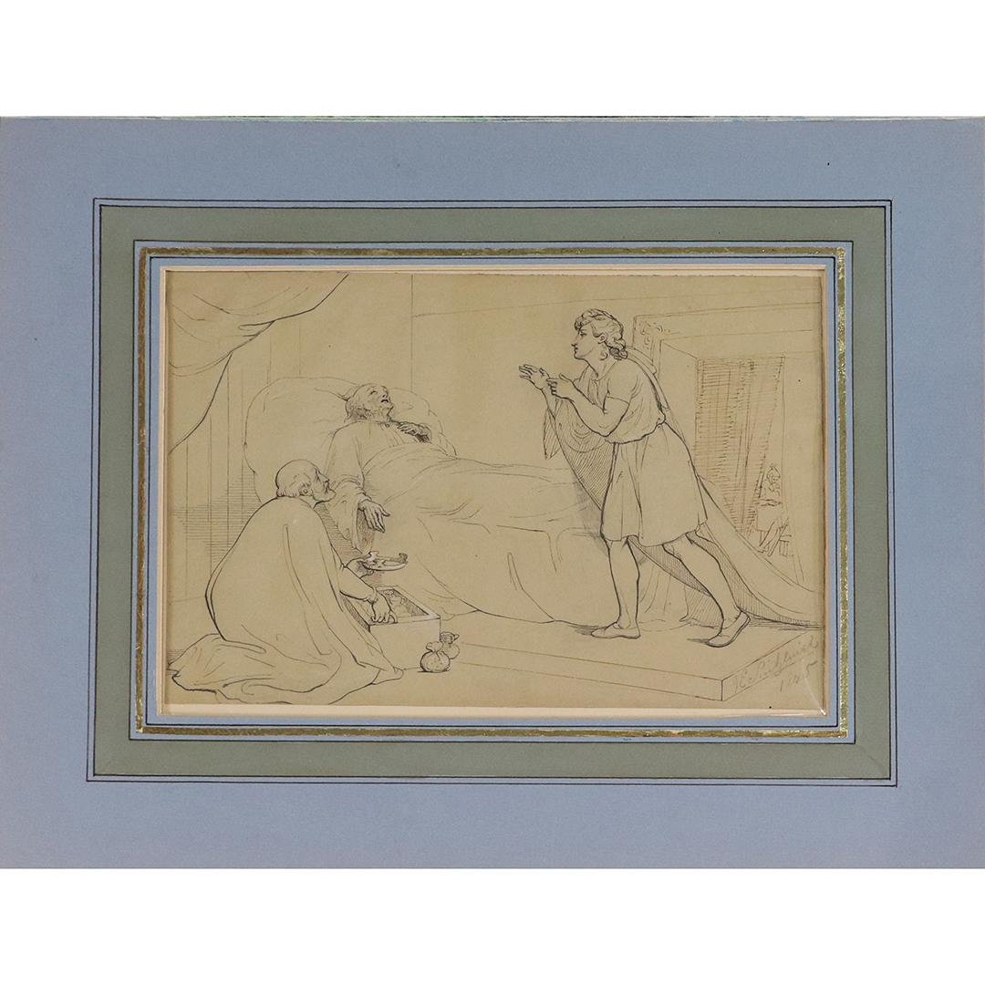 G E Sintzenich 1845 Ink Drawing Death of King