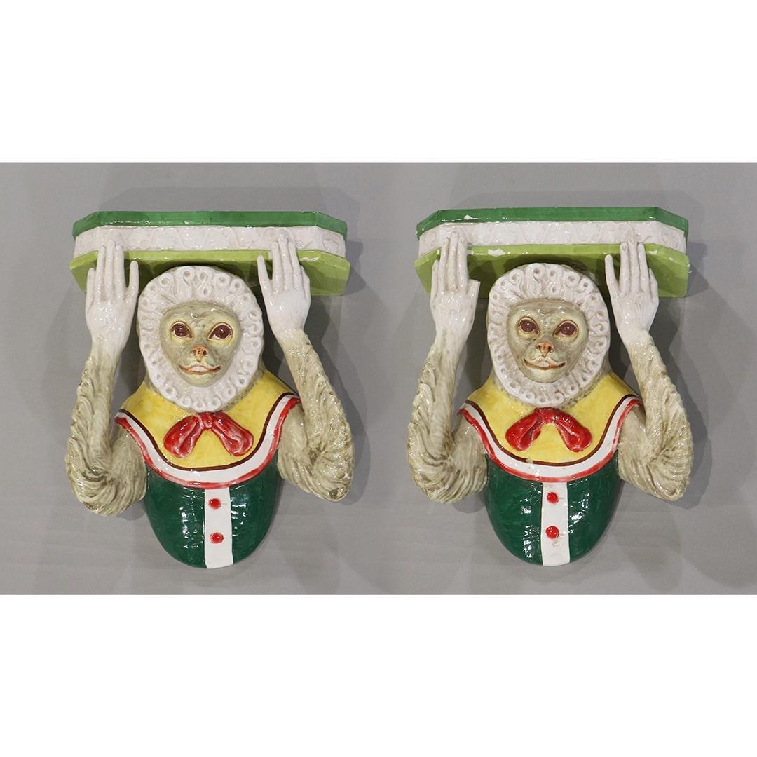 Pair Italian Glazed Pottery Whimsical Monkey Shelves