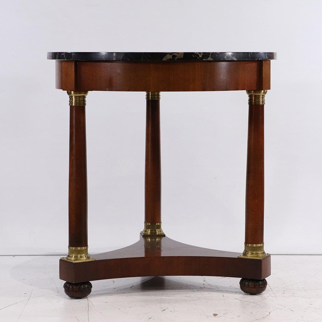 Baker, Empire Style Round Parlor Table Black Marble Top