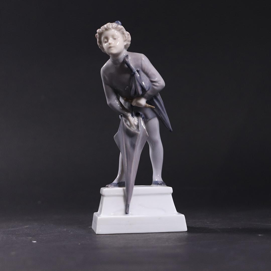 Royal Copenhagen Porcelain Figure With Umbrella