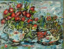 R MONTI Mid-Century STILL LIFE FLOWERS IN POTS ABSTRACT