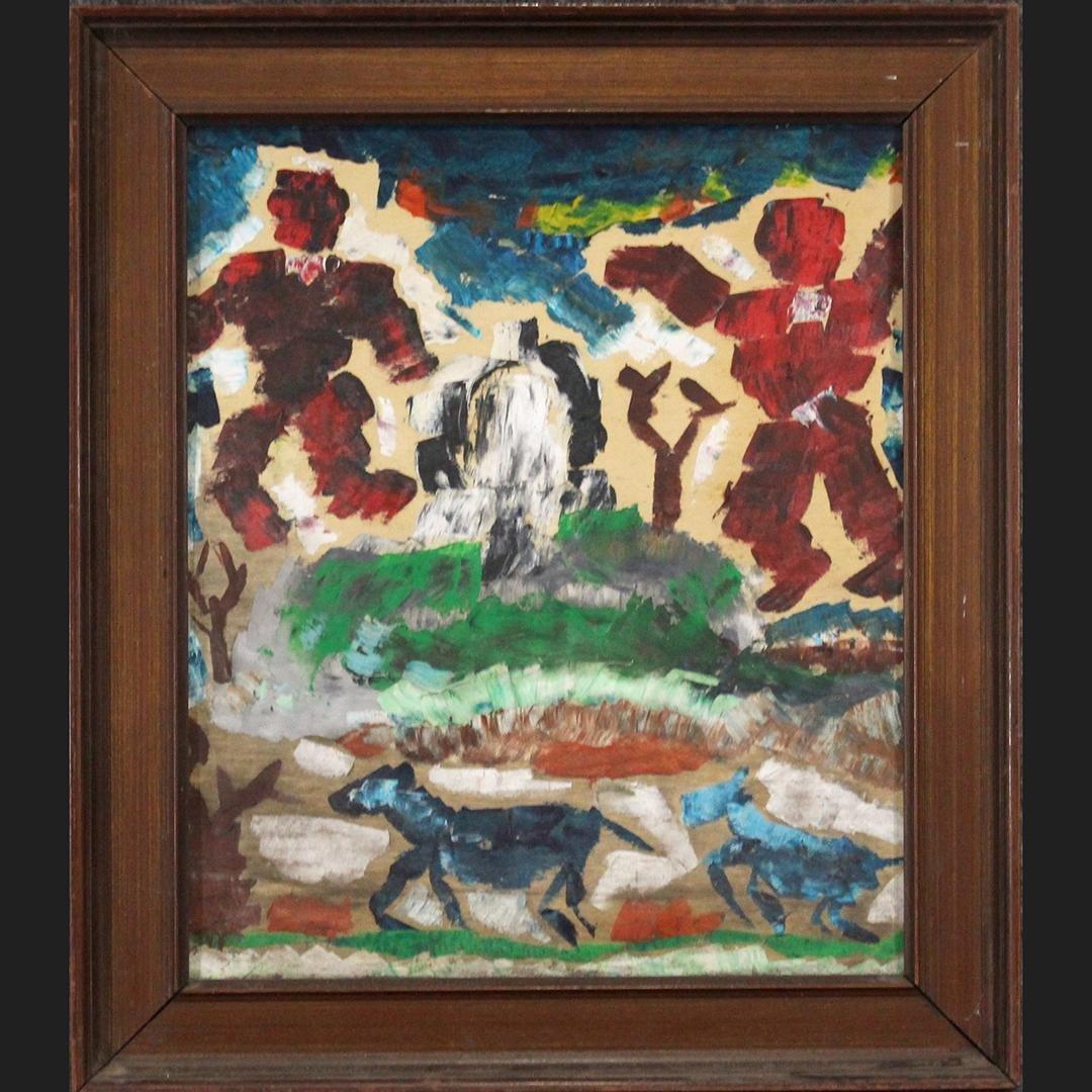 Mid-Century Modern Oil/b Abstract Figures, Horses