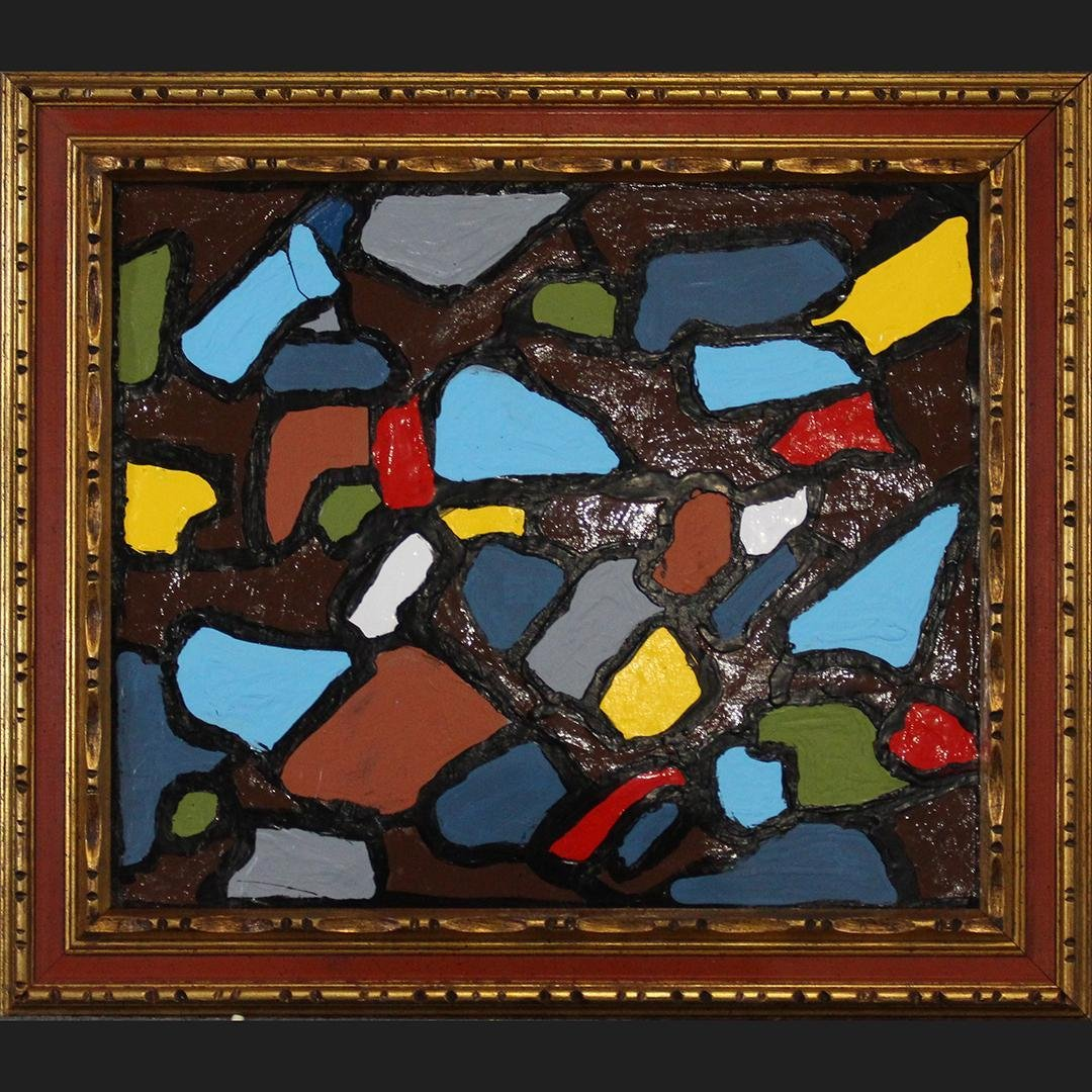 Mid-Century Modern Oil/c Multi Color Abstract Framed