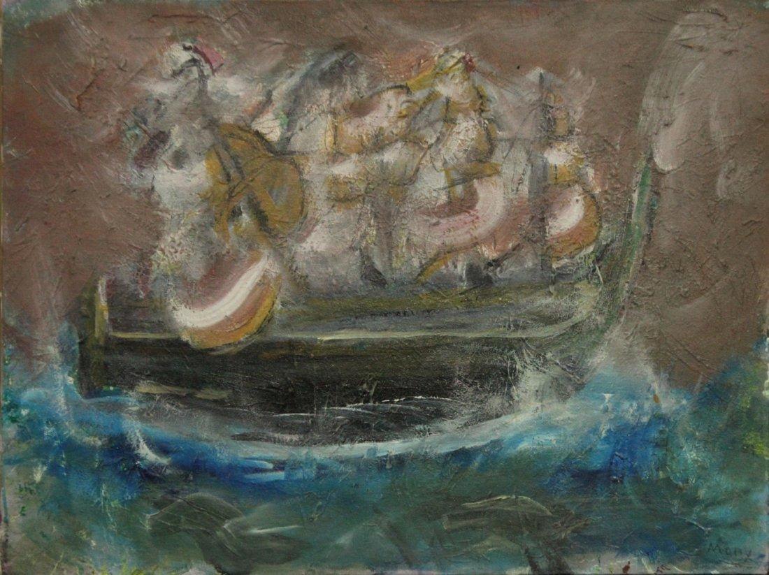 HARRISON SOMERS - OIl/C Mid-Century Modern GONDOLA SHIP