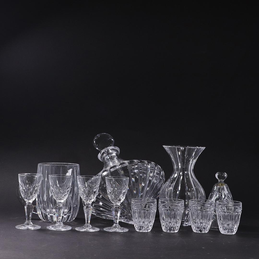 12 Assorted Estate Crystal Glassware, Unusual Decanter