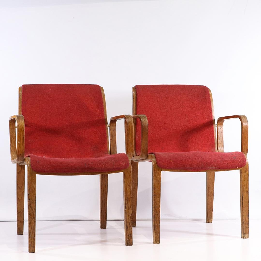 Pair KNOLL International Red Bent Wood Arm Chairs 1970s