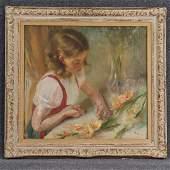 John Koch 1909-1978 American, O/b Girl Trimming Flowers