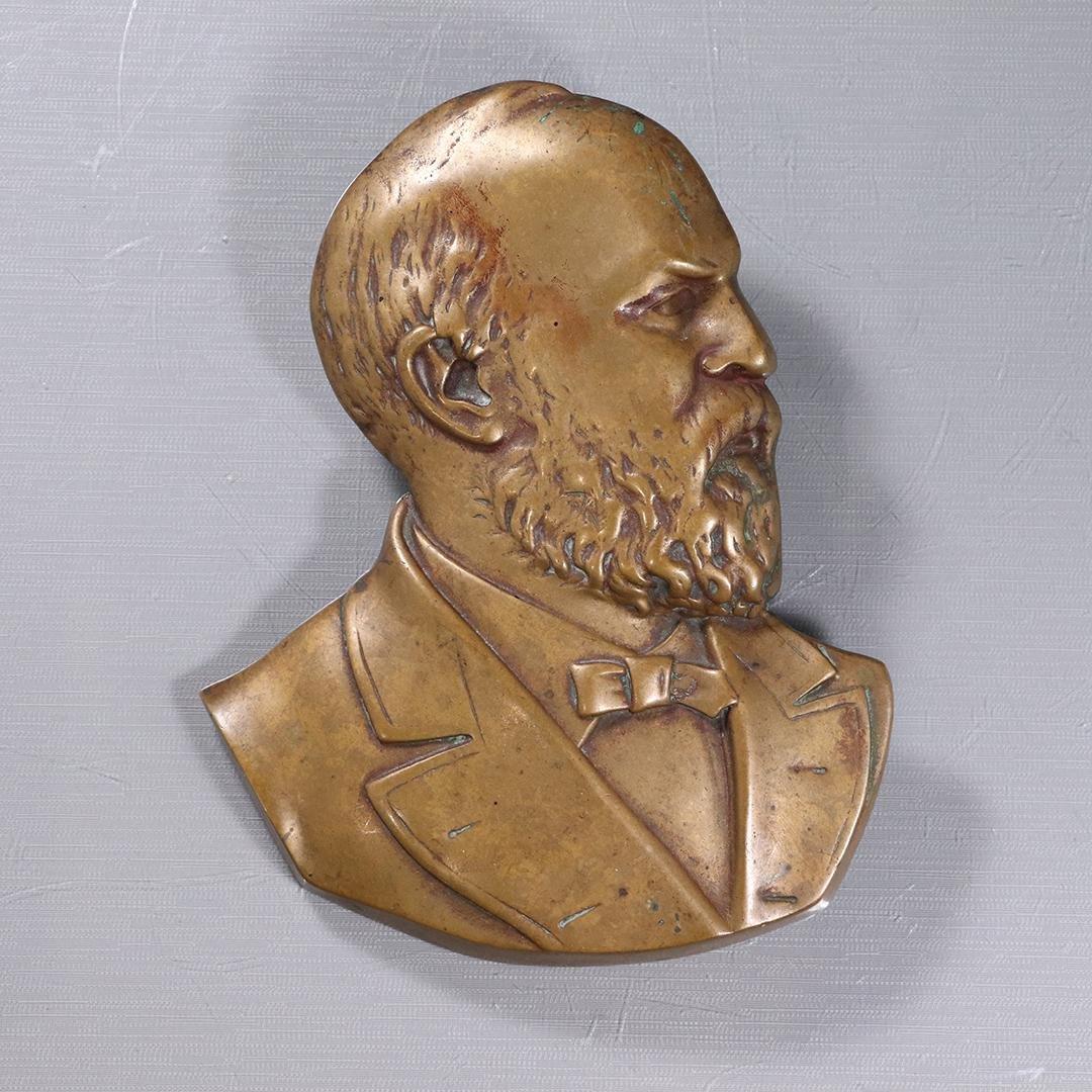 Historical Bronze Plaque Bust of President Garfield