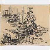 John Marin; American Charcoal Drawing Signed
