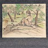 Rockwell Kent; American Ink and Watercolor Signed