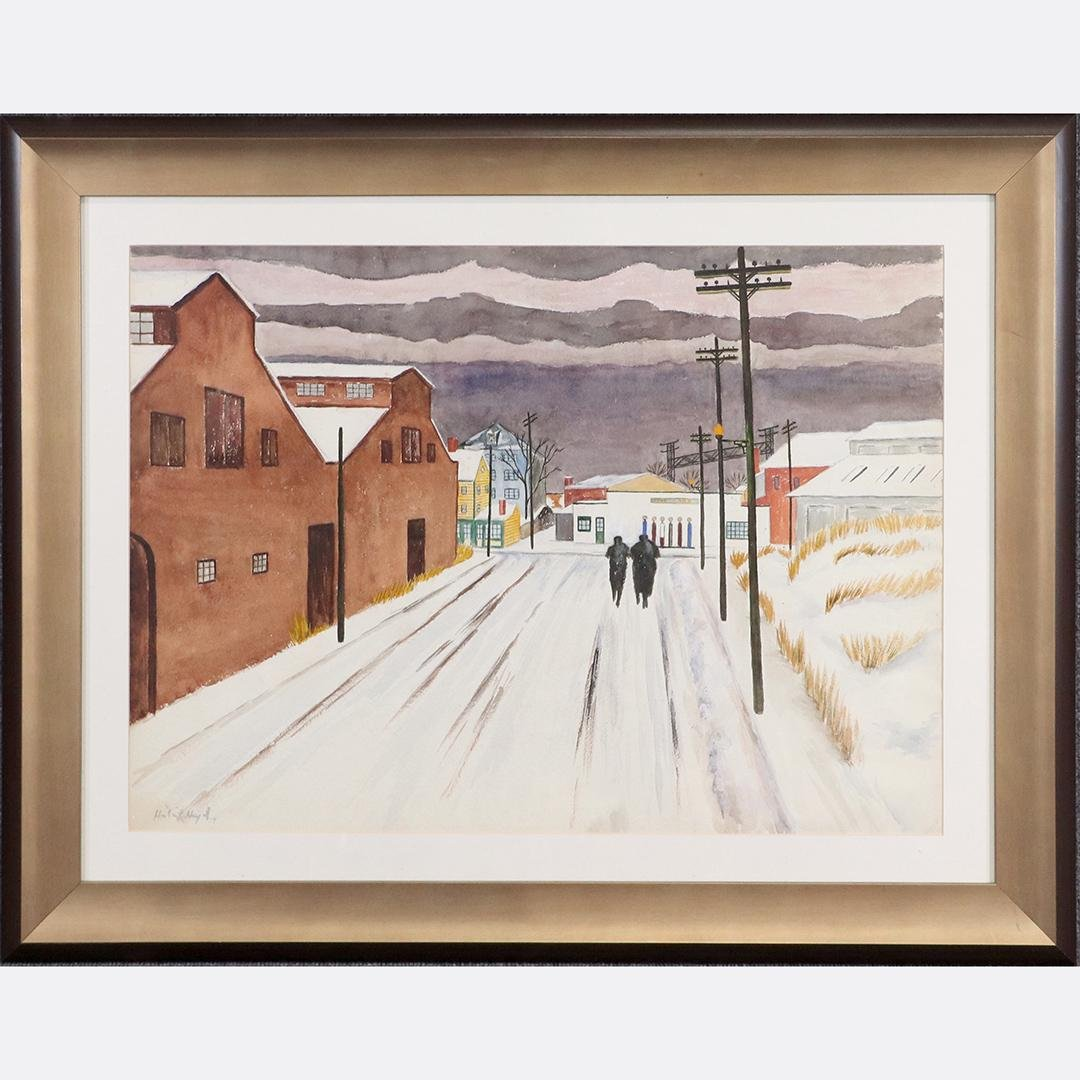 Herbert Heyel 1934; American Modernist Watercolor