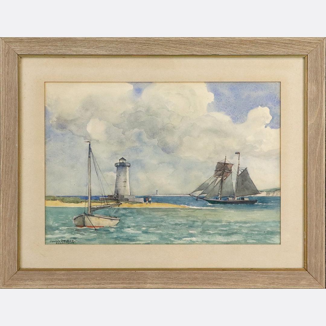 Julius Delbos; American Watercolor Edgartown Harbor