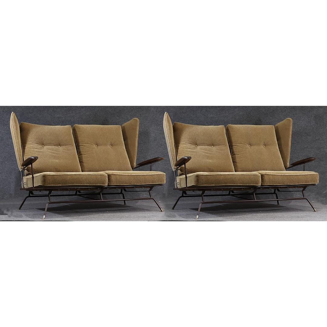Matched Pair Mid-Century Modern Wing Back Love Seats